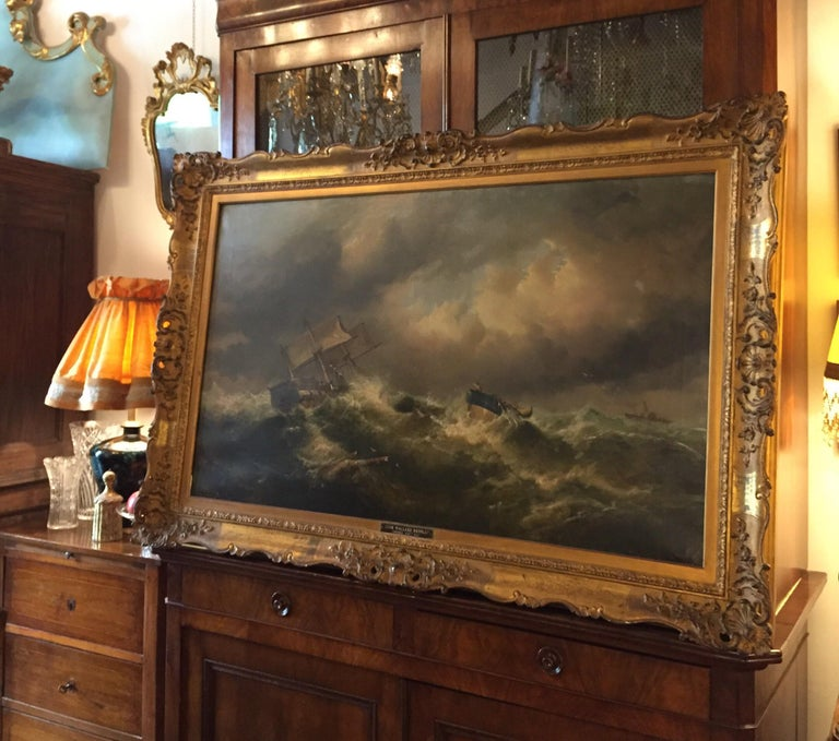 19th Century English Marine Painting Boats Stormy Sea by Bromley John Mallord For Sale 10