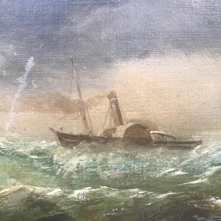 Victorian 19th Century English Marine Painting Boats Stormy Sea by Bromley John Mallord For Sale