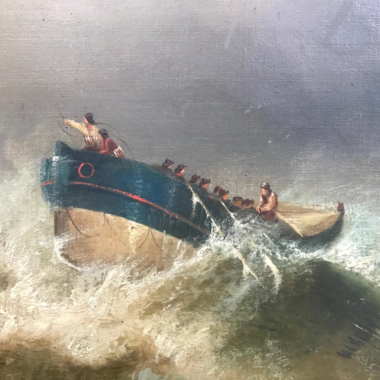 Hand-Painted 19th Century English Marine Painting Boats Stormy Sea by Bromley John Mallord For Sale