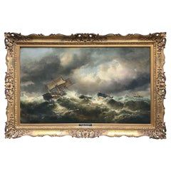 19th Century English Marine Painting Boats Stormy Sea by Bromley John Mallord