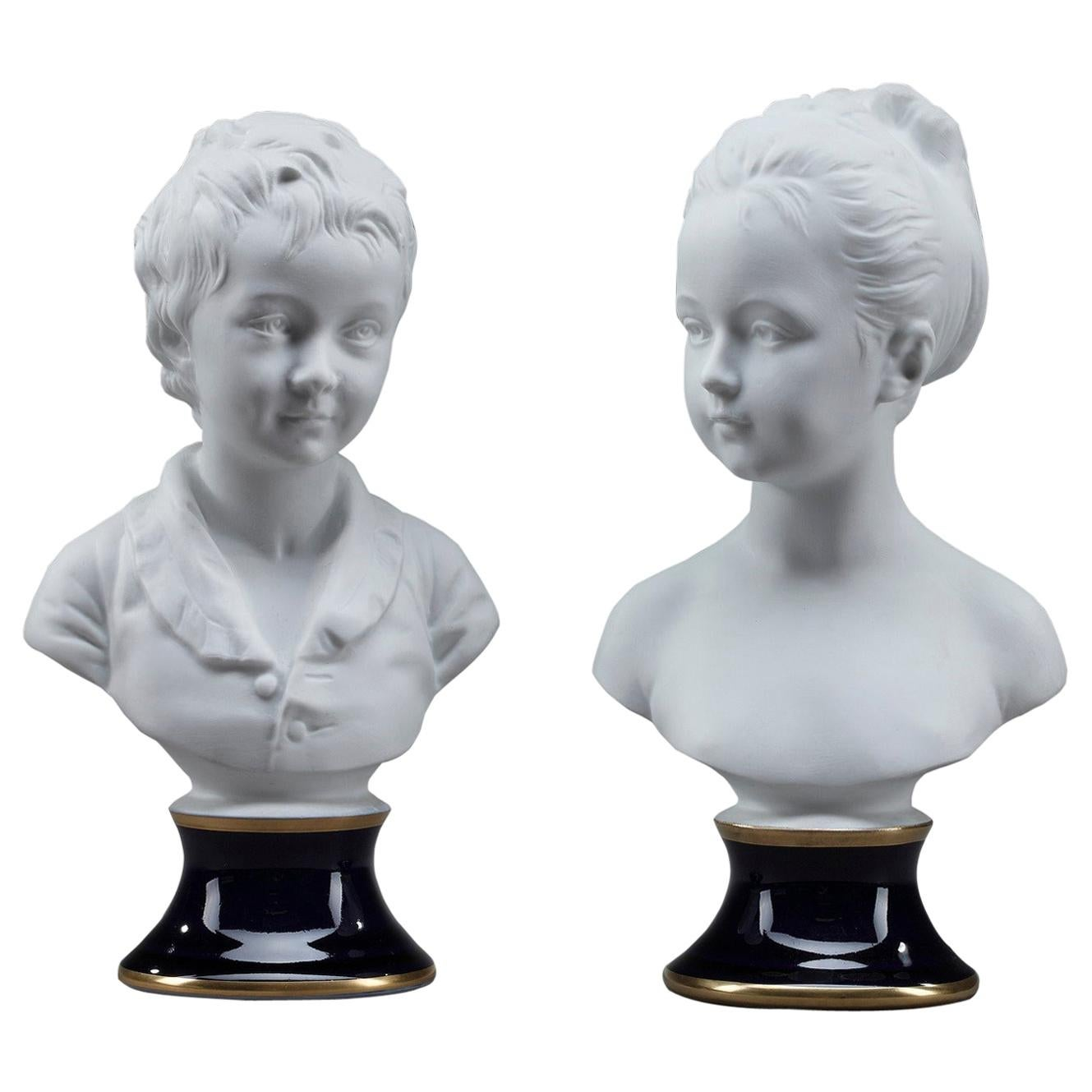 Brongniart Children after Houdon by Tharaud Limoges