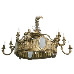 Bronze 16-Light Oval Chandelier