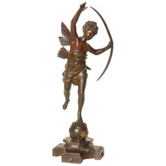 Bronze 19th Century Sculpture of Winged Cupid by Ernest Rancoulet