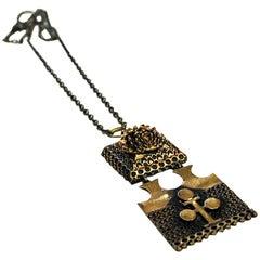 Bronze 2-Piece Pendant Necklace by Pentti Sarpaneva, Finland, 1970s