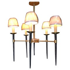 Bronze 5-Light Chandelier with Large Faux Narwhal Tusks and Rock Crystal Accents