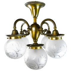 Bronze 5-Light Chandelier with Original Globes