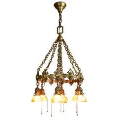 Bronze 7 Shade Chandelier with Tiffany Attributed Aurene Glass
