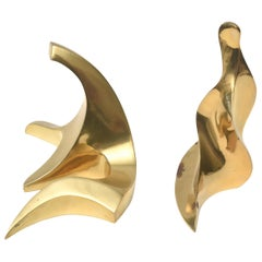 Bronze Abstract Signed Sculptures Pair of French