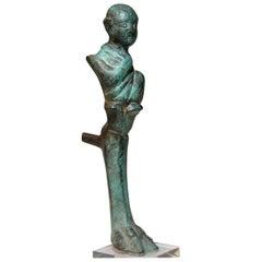 Bronze Alexandrian Bust of a Mime on a Tripods Leg, Hellenistic Egypt