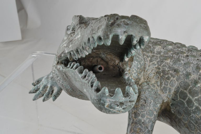 Mid-20th Century Bronze Alligator Fountain For Sale