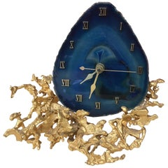 Bronze and Agate Table Clock Attributed to Jacques Duval Brasseur or Boeltz