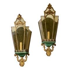 Bronze and Amber Glass Lantern Sconces