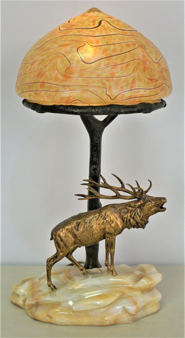 Bronze and Art Glass Desk Lamp, Early 20th Century, Austria For Sale 6