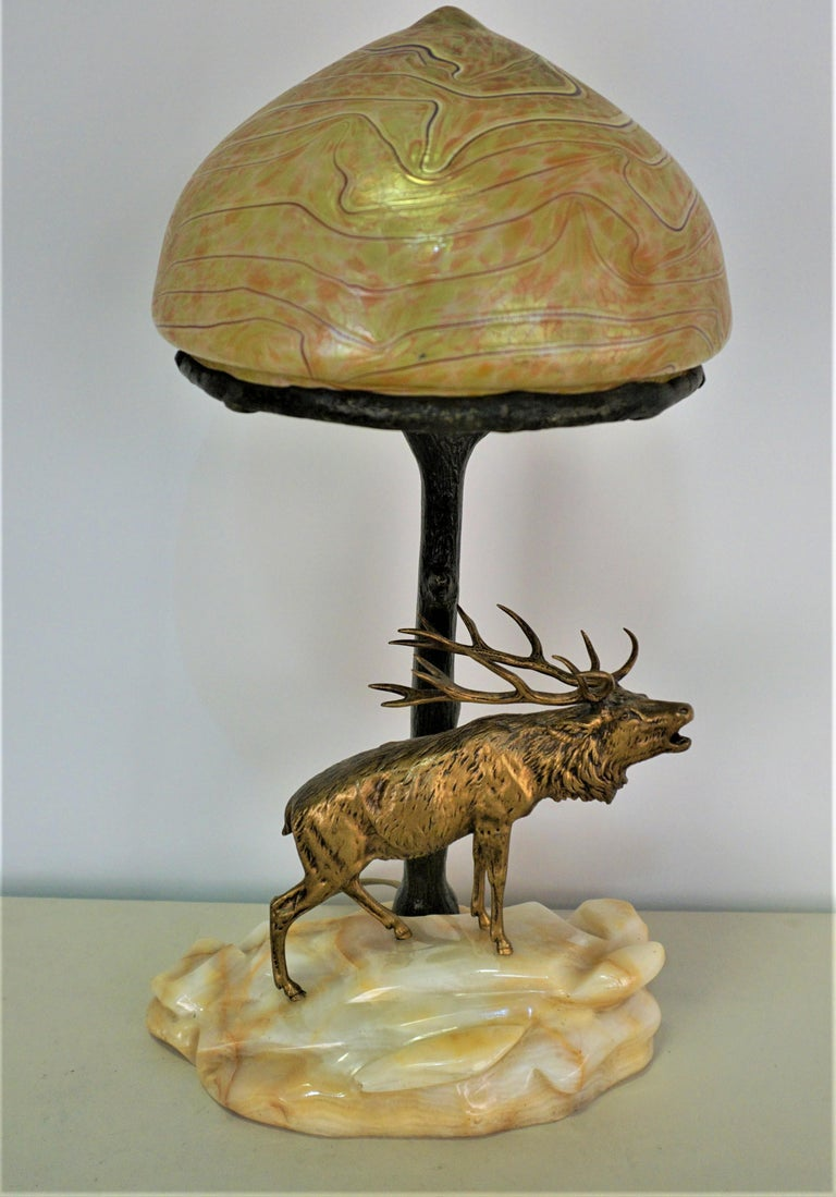 Bronze and Art Glass Desk Lamp, Early 20th Century, Austria For Sale 7