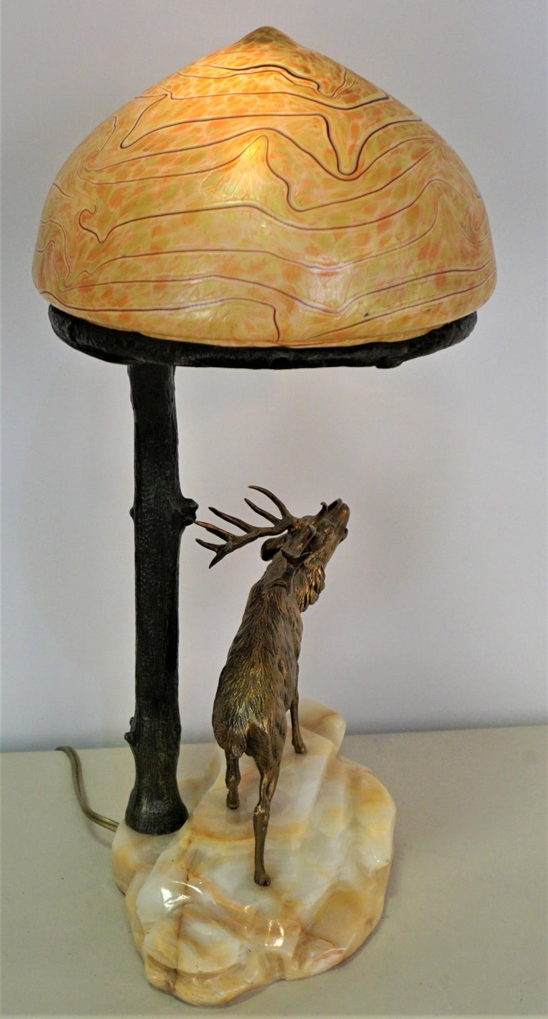 Art Nouveau Bronze and Art Glass Desk Lamp, Early 20th Century, Austria For Sale