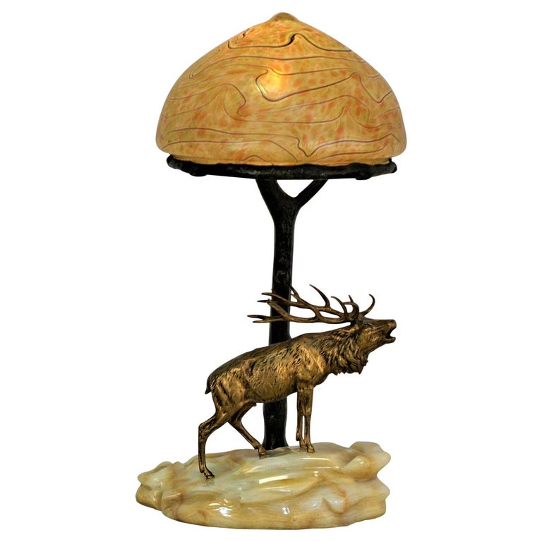 Bronze and Art Glass Desk Lamp, Early 20th Century, Austria For Sale