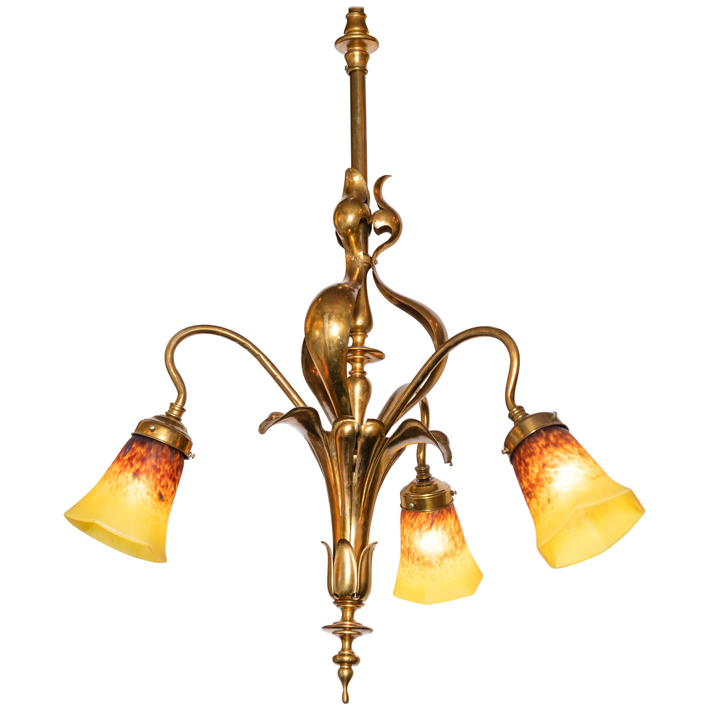 Bronze and Artistic Glass Chandelier, France, Early 20th Century
