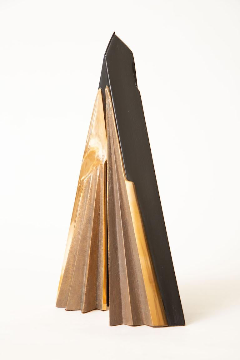 Mid-Century Modern Bronze and Black Stained Wood Abstract Italian Sculpture Signed Vintage For Sale