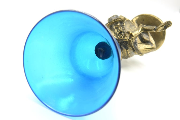Bronze and Blue Glass Kiddush Cup by Zachary Oxman For Sale 2