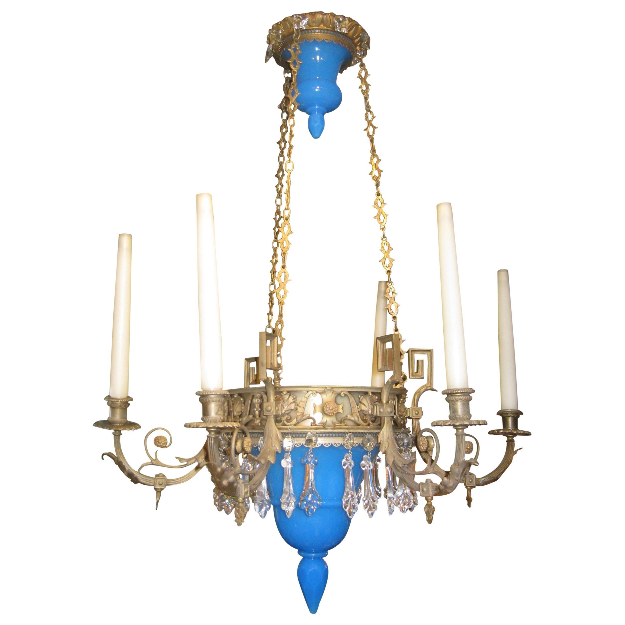 Bronze and Blue Opaline Glass Chandelier