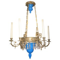 Bronze and Blue Opaline Glass Chandelier