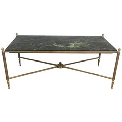 Bronze and Brass Coffee Table with Green Marble Top, circa 1940