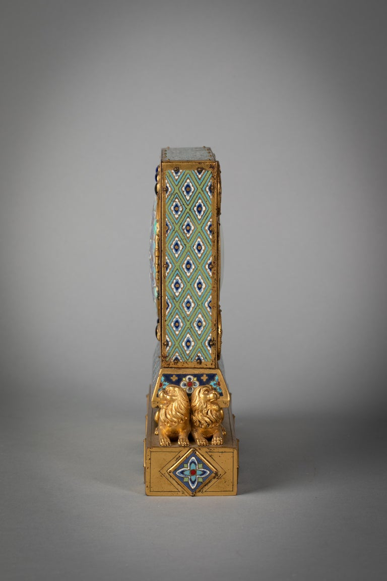 American Bronze and Champleve Enamel Table Clock, E.F. Caldwell, Circa 1900 For Sale
