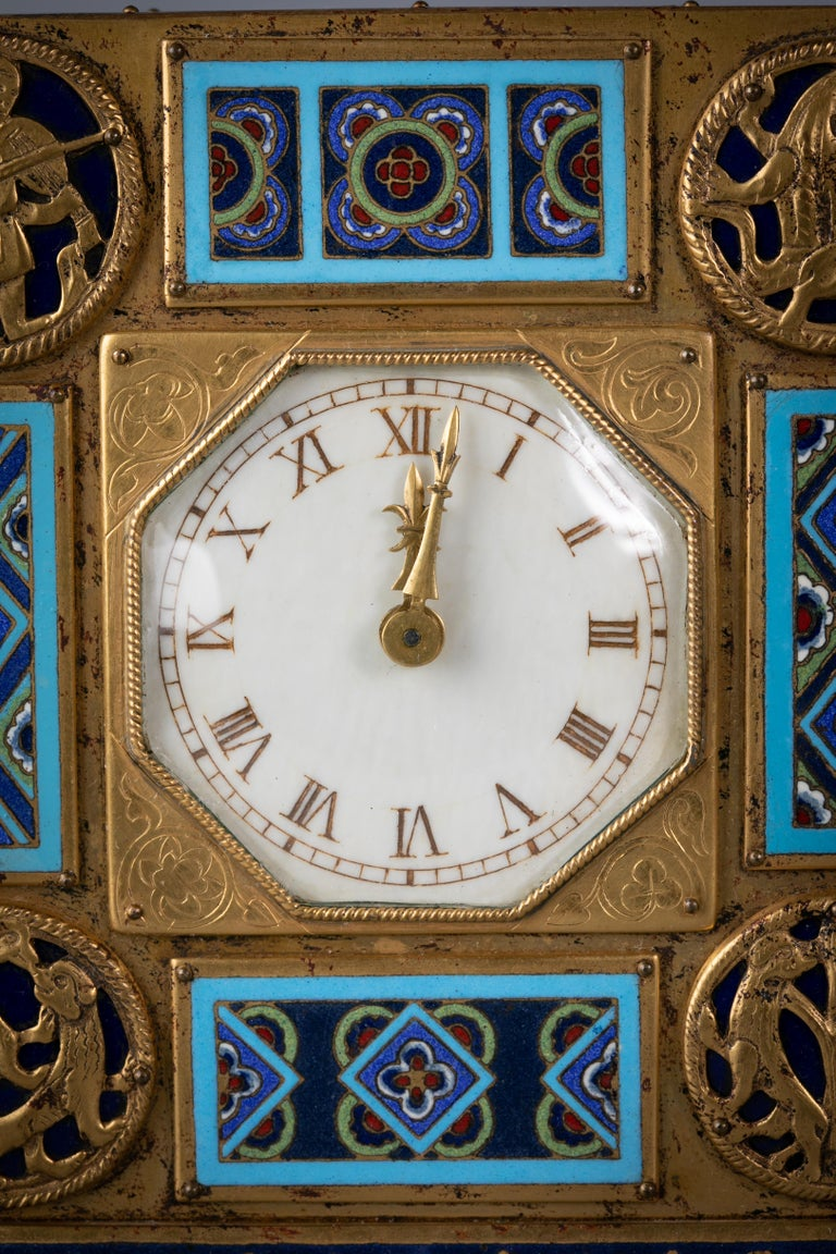 Early 20th Century Bronze and Champleve Enamel Table Clock, E.F. Caldwell, Circa 1900 For Sale