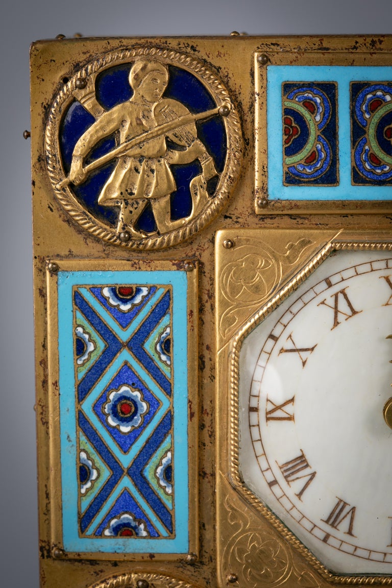 Bronze and Champleve Enamel Table Clock, E.F. Caldwell, Circa 1900 For Sale 1