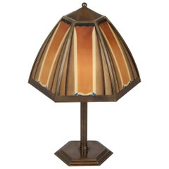 Bronze and Colored Glass Art Deco Lamp, Netherlands, 1920s