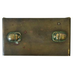 Bronze and Copper Scarab Beetle Ink Blotter