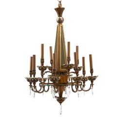 Bronze and Crystal Baguès Chandelier with Smoked Glass Panels, French, 1950s