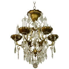 Bronze and Crystal Cage Form Chandelier Attributed to Maison Jansen