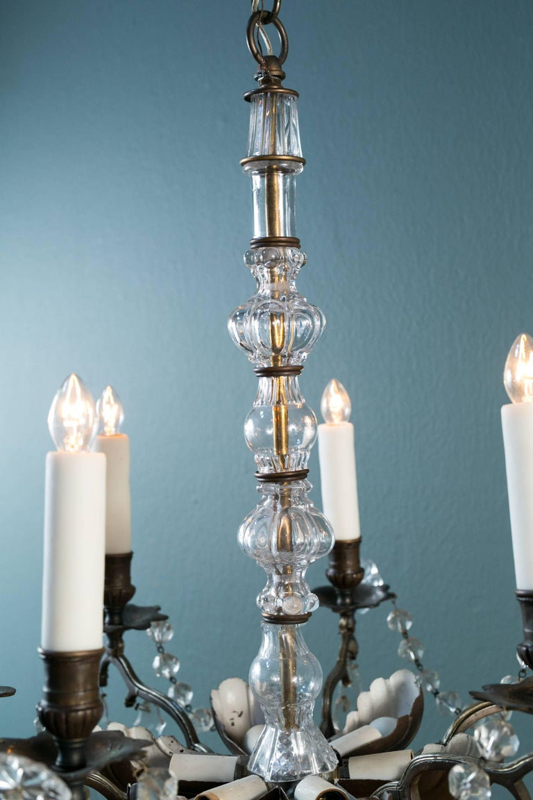 Belle Époque Bronze and Crystal Chandelier from France, circa 1890 For Sale