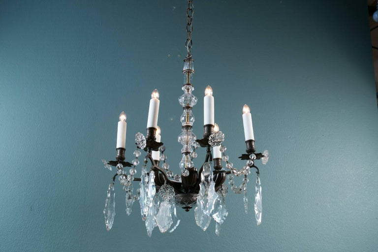 Cast Bronze and Crystal Chandelier from France, circa 1890 For Sale