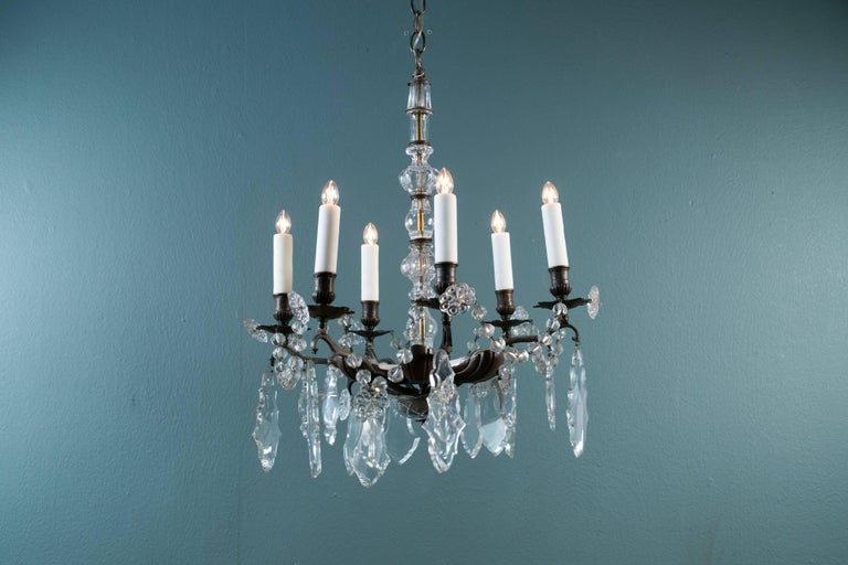 Bronze and Crystal Chandelier from France, circa 1890 In Excellent Condition For Sale In Houston, TX