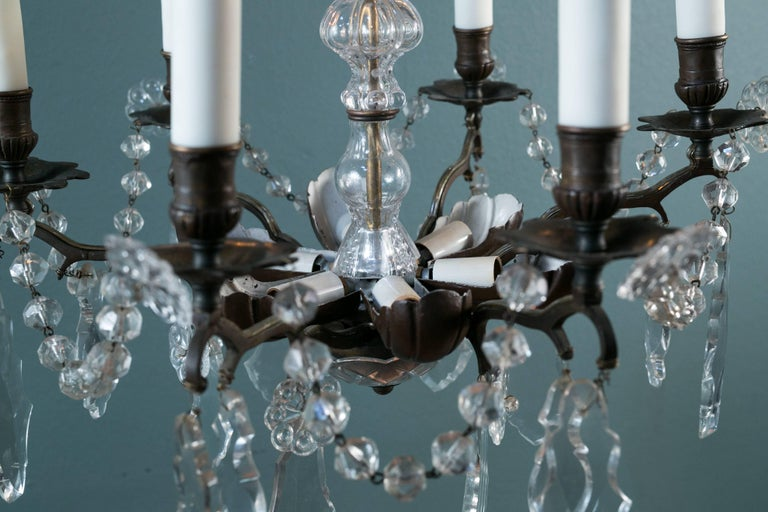 Late 19th Century Bronze and Crystal Chandelier from France, circa 1890 For Sale