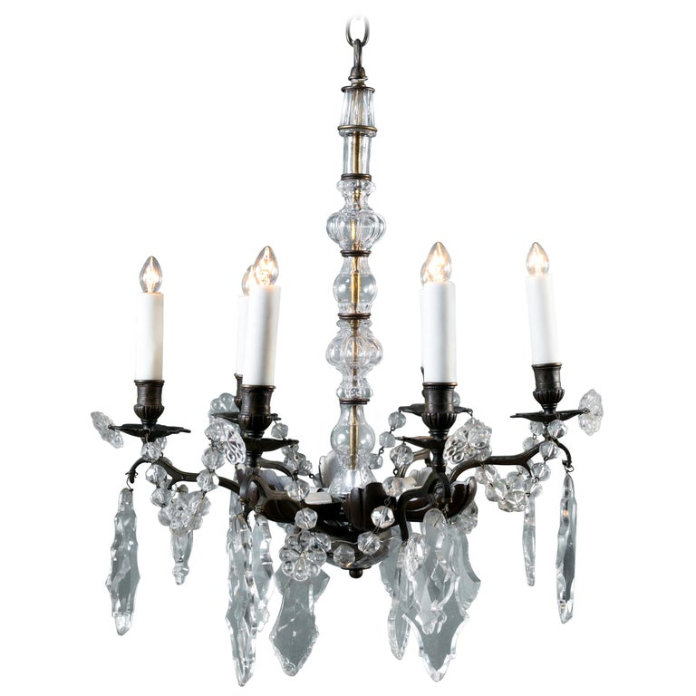 Bronze and Crystal Chandelier from France, circa 1890 For Sale