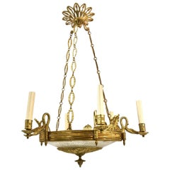 Bronze and Crystal Empire Style Chandelier