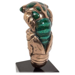 Bronze and Enamel Cicada Sculpture by Mary Frances Wawrytko