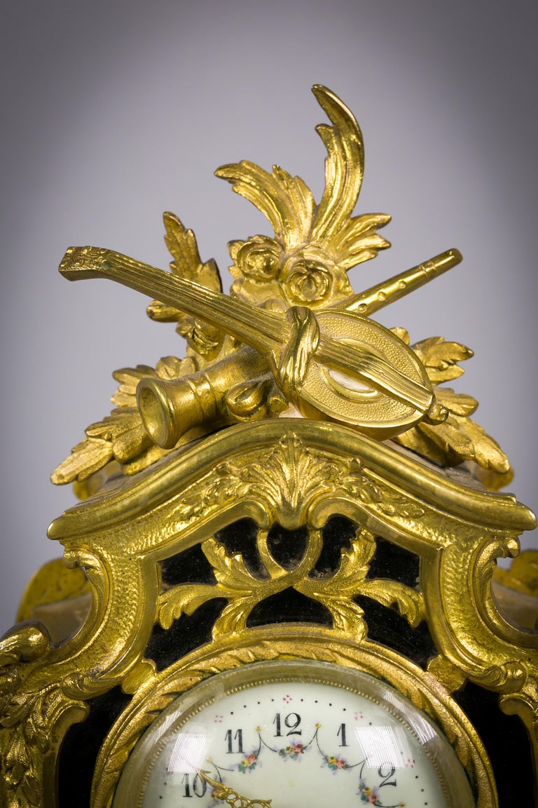 Bronze and Enamel Clock, French, circa 1885 In Good Condition For Sale In New York, NY