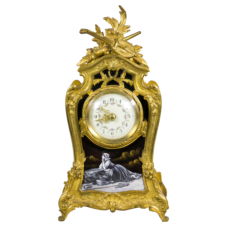 Bronze and Enamel Clock, French, circa 1885