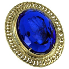 Bronze and Engraved Blue Murano Glass Fashion Oval Ring by Patrizia Daliana