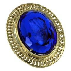 Bronze and Engraved Blue Murano Glass Fashion Oval Ring by Patrizia Daliana