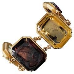 Bronze and engraved Brown Murano glass Italian bracelet by Patrizia Daliana