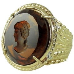 Bronze and Engraved Brown Murano Glass Ring by Patrizia Daliana