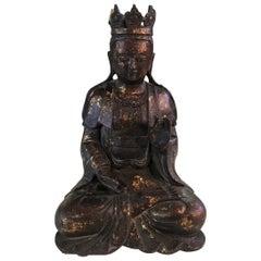 Bronze and Gilt Seated Shrine Temple Buddha Sculpture