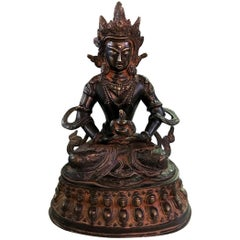 Bronze and Gilt Tibetan Shrine Temple Sculpture of Deity Bodhisattva White Tara