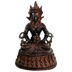 Bronze and Gilt Tibetan Shrine Temple Sculpture of Deity Bodhisattva White Tara