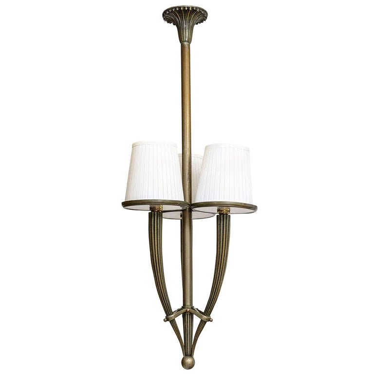 Bronze and Glass Art Deco Chandelier For Sale